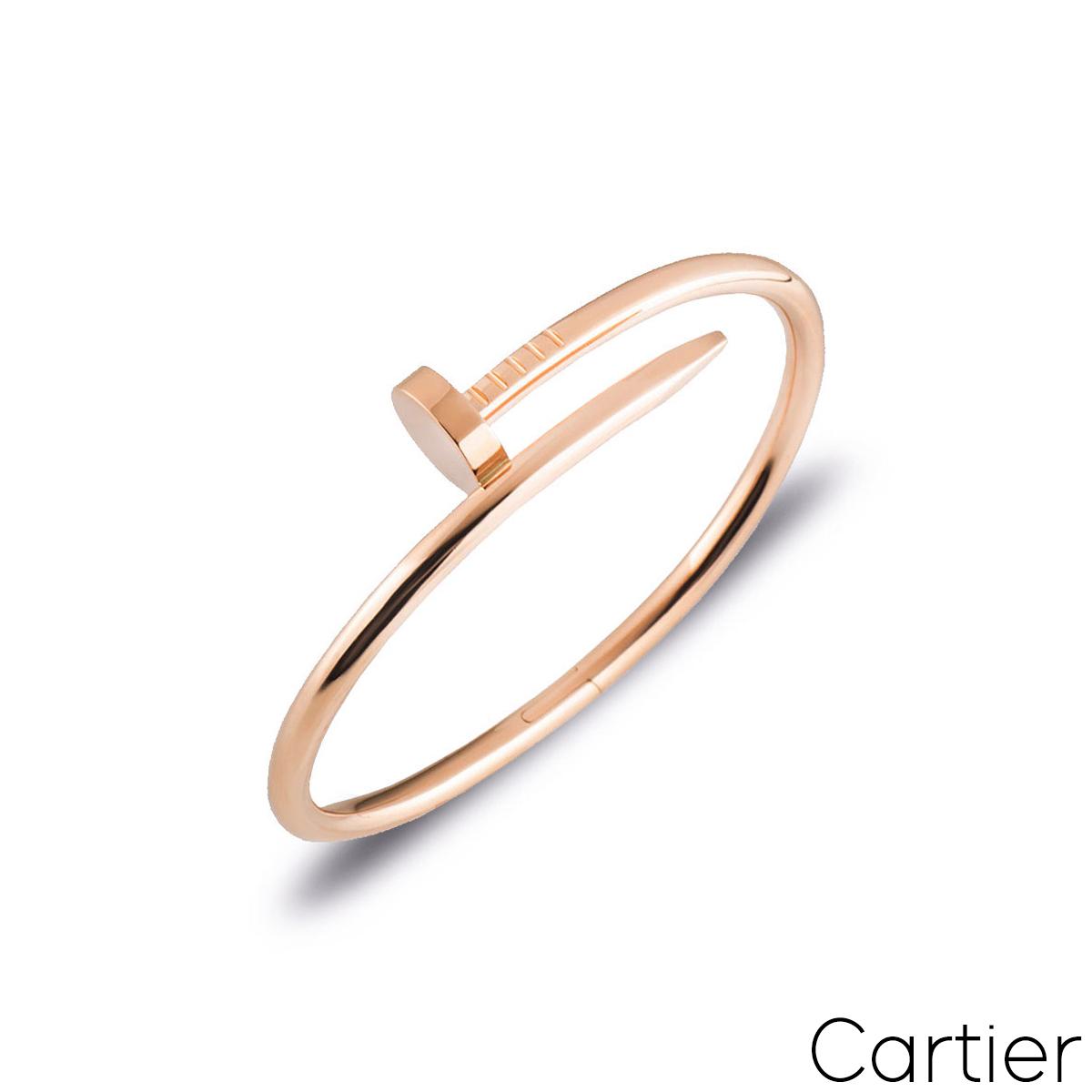 Cartier Rose Gold Plain Juste Un Clou Bracelet Size 17 B6048117